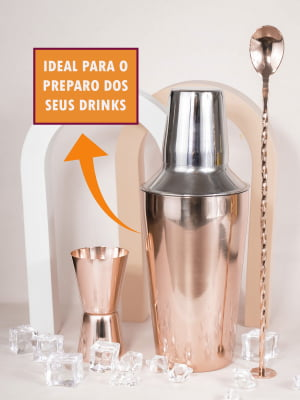 Kit 3 Peças Coqueteleira Inox Rose 500mL Dosador Colher Bailarina Para Drinks Barman Bar