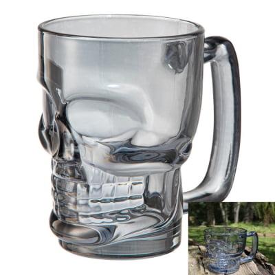 Caneca caveira cinza luster de vidro Chop 380mL copo de vidro cerveja 2 und fumê full26669