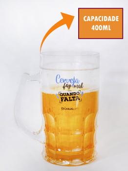 Caneca De Chopp Cerveja Divertida 400ml Copo Caneca Criativa Preserva Temperatura Cerveja Faz Mal Quando Falta