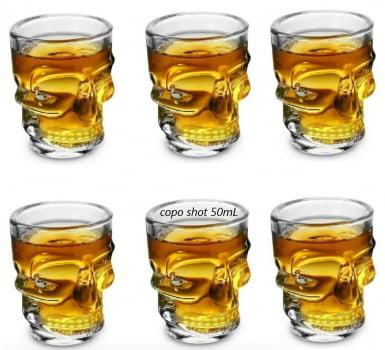 Copo shot caveira dose vidro tequila whisky vodka licor bebidas jogo 6 copos 45mL bar yangzi20785