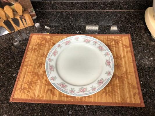 Jogo americano cozinha de bambu 4 peças lugar americano amarelo limpa fácil mimo3607