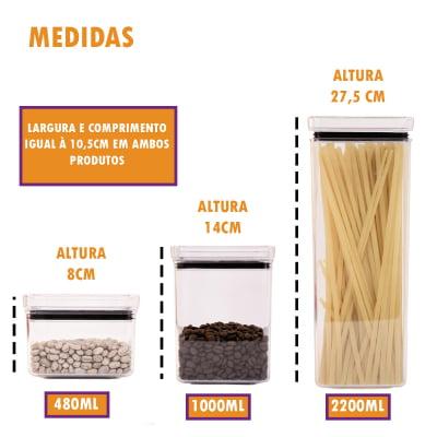 Kit 6 Portas Mantimentos Hermético Empilhável Condimento Acrílico 480ml 1000ml 2200ml