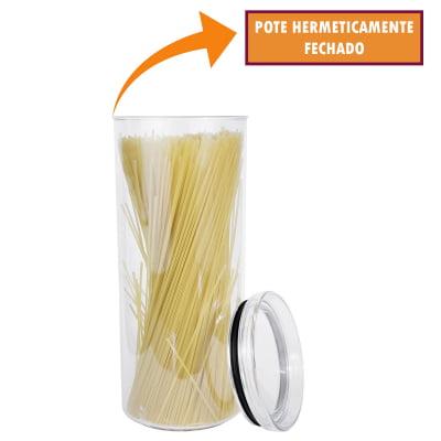 Kit 2 Portas Mantimentos Redondo Pote Hermético Empilhável Condimento Acrílico 2200ml