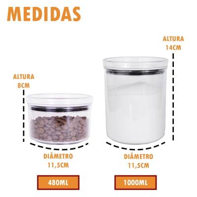 Kit 4 Portas Mantimento Empilhável Redondo Porta Condimento Acrílico 480ml 1000ml