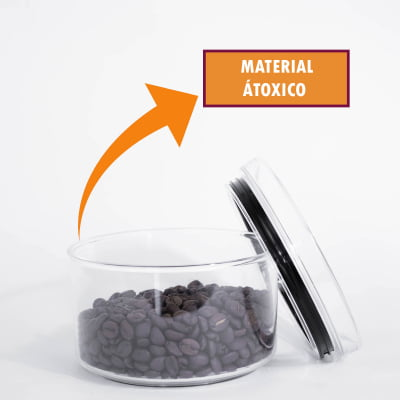 Kit 4 Portas Mantimento Redondo Pote Hermético Empilhável Condimento Acrílico 480ml