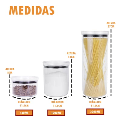 Kit 6 Portas Mantimentos Hermético Redondo Empilhável Condimento Acrílico 480ml 1000ml 2200ml