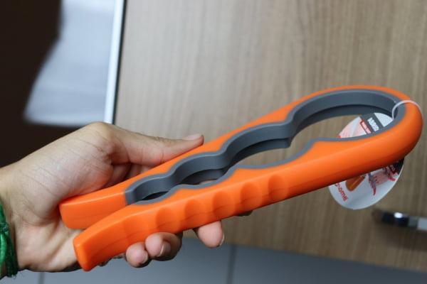 Abridor de tampa frascos e potes abre fácil tampas 4 tamanhos 22cm laranja uni su171312
