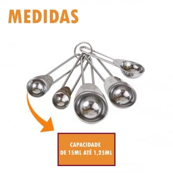 Jogo de 5 Colheres Medidoras Cozinha Kit Xícaras Medidas Aço Inox