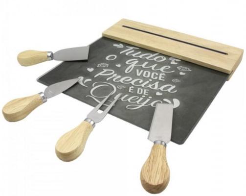 Conjunto para queijos madeira e aço inox com petisqueira tábua de vidro com barra magnética cinza ck4751
